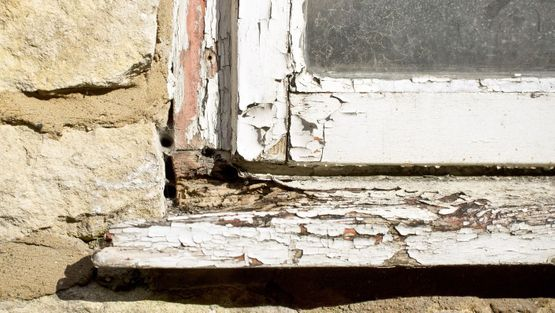 Dry rot on a window frame